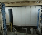The front of the paver accelerated curing system - the blinds of the chambers are lowered