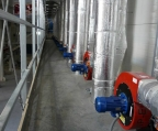 Recirculation pipes of the paver accelerated curing system